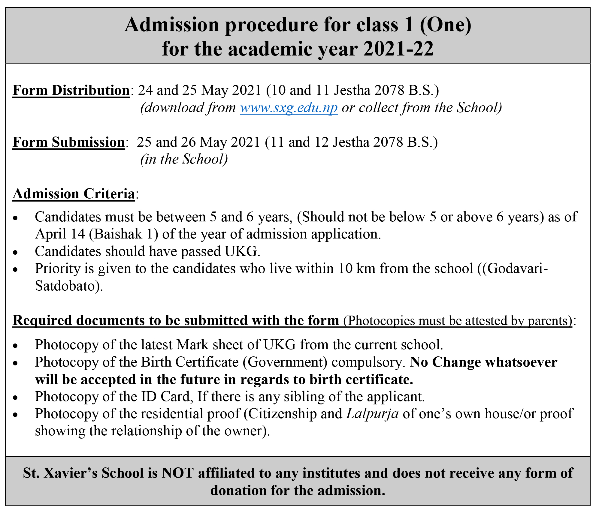 Admission Procedure for the academic year 2021-22