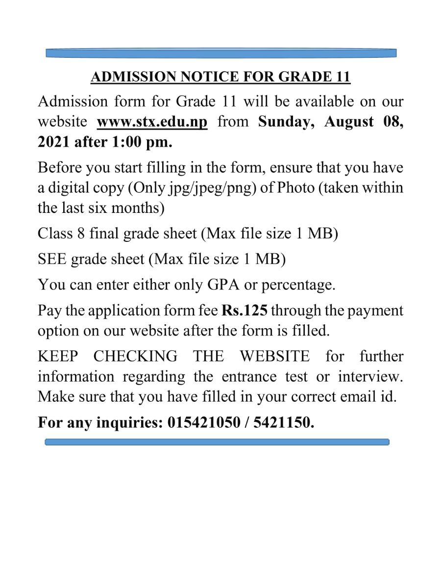 ADMISSION NOTICE FOR GRADE 11.
