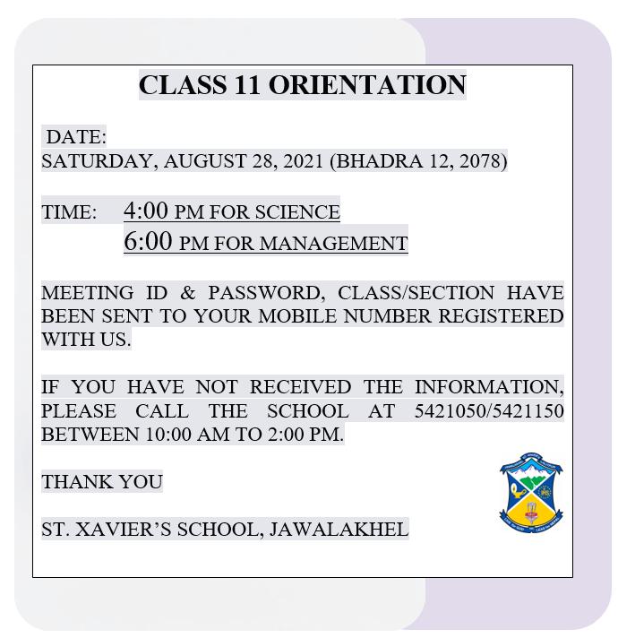 CLASS 11 ORIENTATION